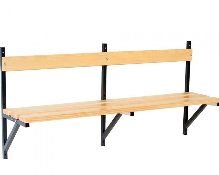 Umkleidebank Wandmontage Sitzfläche Holz für Innenbereich