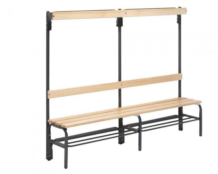 Umkleidebank einseitig mit  Rückenlehne Sitzfläche Holz für Innenbereich
