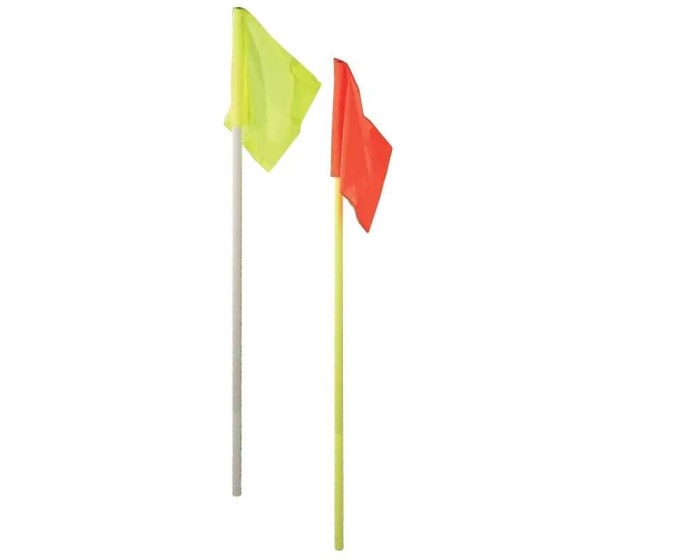 Grenzstange 30 mm gelb mit Bodenhülse und Eckfahne