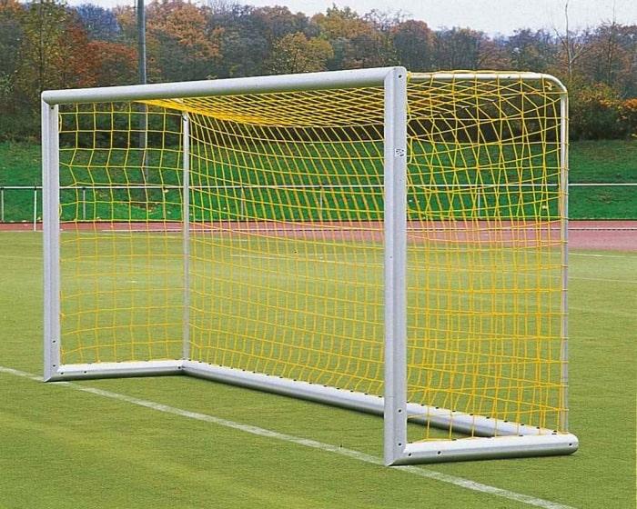 Jugendfußballtor Aluminium 5 x 2 m  eckverschweißt Bodenrahmen 120x100mm Netztiefe 80/150 cm
