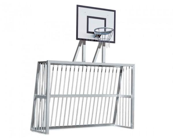 Bolzplatztor mit Basketballaufsatz Alu Profil 80x80 mm (freistehend, voll-verschweißt, DIN-EN748)