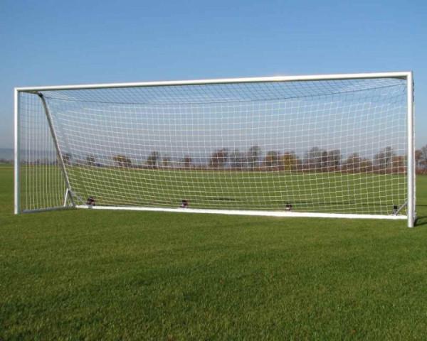 Fußballtor 7,32 x 2,44 m Aluminium vollverschweißt kippsicher mit Gewichten Netztiefe 80/200 cm