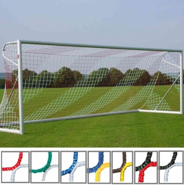 Tornetz 7,50x2,50m 2-farbig in Vereinsfarben Tortiefe oben 80cm unten 150cm