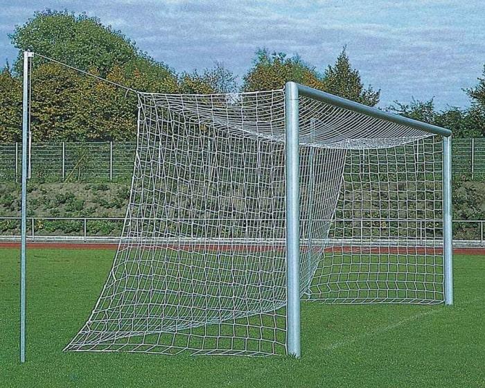 Fußballtor Alu silber 7,32 x 2,44 m mit freier Netzaufhängung eckverschweißt
