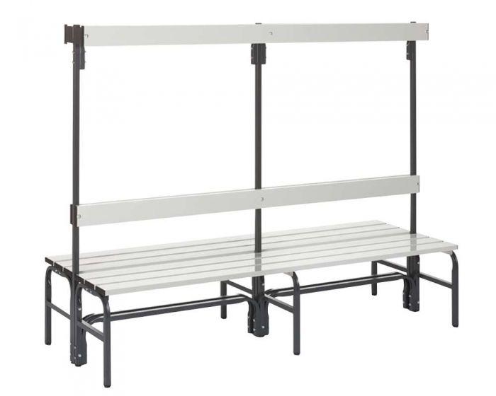 Umkleidebank doppelseitig mit Rückenlehne Sitzfläche Alu für Feuchtbereich