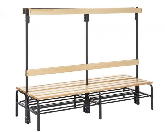 Umkleidebank doppelseitig  mit Rückenlehne Sitzfläche Holz  für Innenbereich