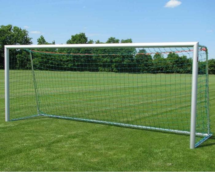 Jugendfußballtor Aluminium 5 x 2 m  vollverschweißt Bodenrahmen 75x40 mm Netztiefe 80/100 cm