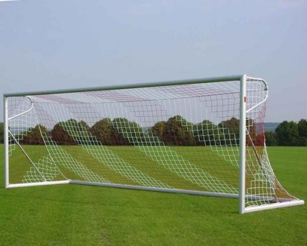 Freistehendes Fußballtor 7,32 x 2,44 m Aluminium eckverschweißt Netztiefe 80/200 cm