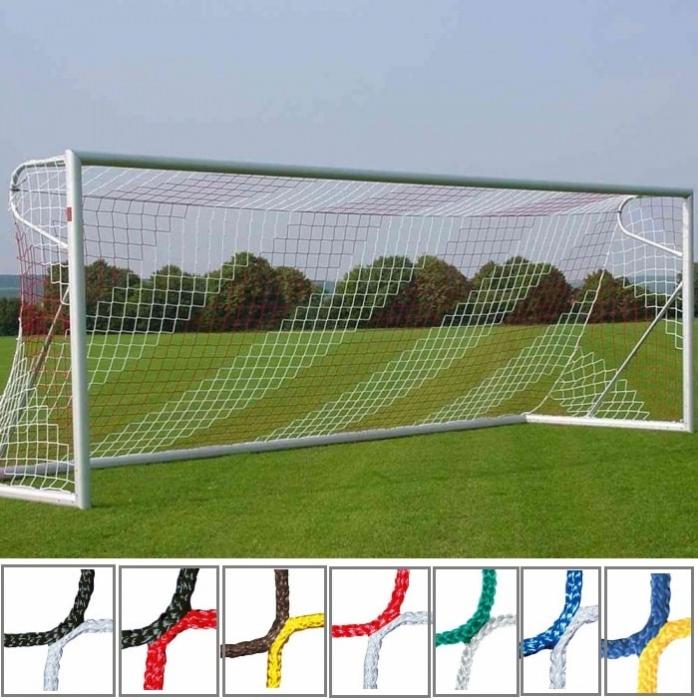 Tornetz 7,50x2,50m 2-farbig in Vereinsfarben Tortiefe oben 200cm unten 200cm