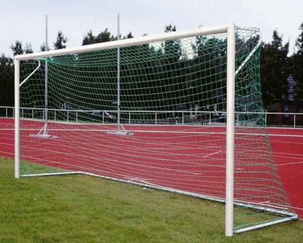Fußballtor Alu weiß 7,32 x 2,44 m mit Netzbügel eckverschraubt