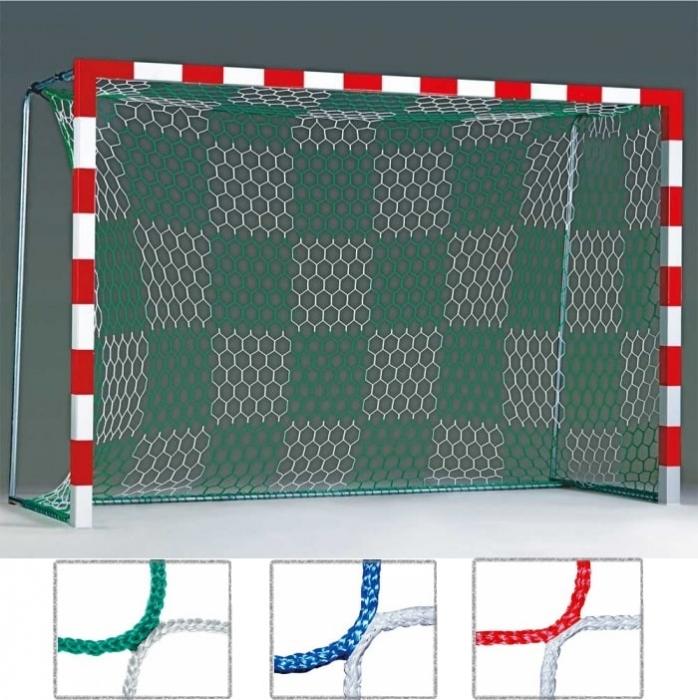 Tornetz 3,10 x 2,10 m für Kleinfeldtor 2-farbig grün/weiß Schachbrettmuster Tortiefe 80/100 cm