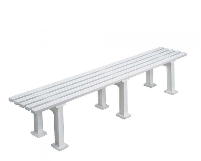 Sportplatz Sitzbank  *Eintracht* 200 cm weiß ohne Lehne