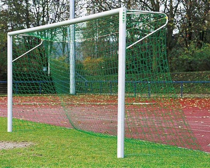 Fußballtor Alu silber 7,32 x 2,44 m mit Netzbügel eckverschraubt