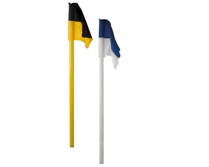 Grenzstange  50 mm gelb mit Bodenhülse und Eckfahne