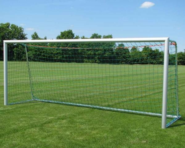 Freistehendes Fußballtor 7,32 x 2,44 m Typ Schweiz Aluminium vollverschweißt Netztiefe 80/200 cm